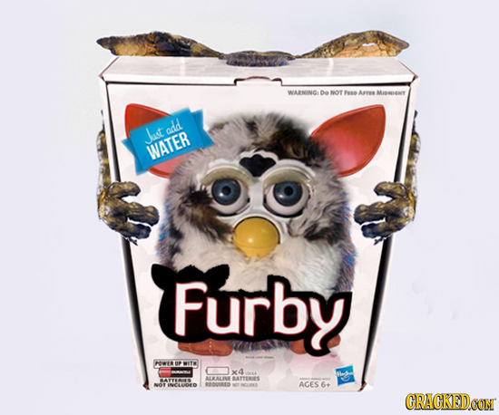 WARNING DO NOT Feso Are Miary add JJust WATER Furby FOWERUP WITW X4 BATYES ALKALLINE BATTURIES NOT AGES 6+ INCLUOD REORID CRACKEDCON