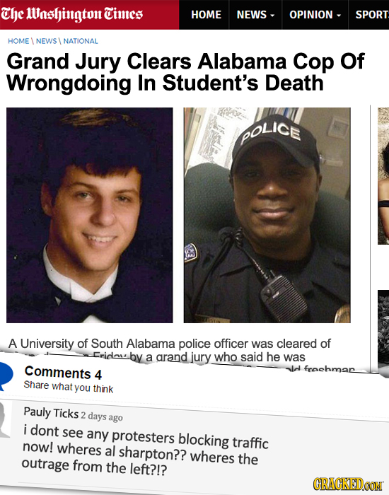 The 1Vashintgton Times HOME NEWS - OPINION - SPORT HOME NEWS NATIONAL Grand Jury Clears Alabama Cop Of Wrongdoing In Student's Death POLICE A Universi
