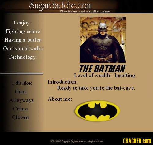 18 Dating Site Profiles of Famous Fictional Characters