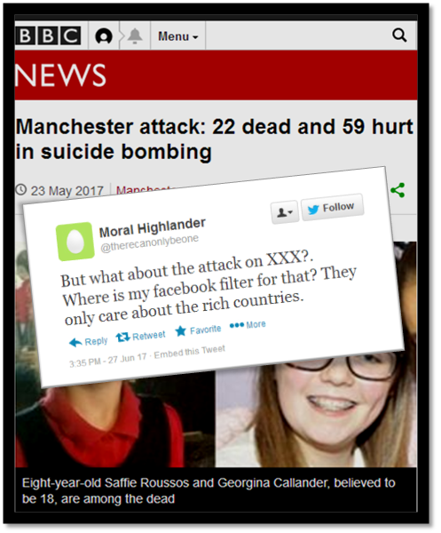 BBC Menu, Q NEWS Manchester attack: 22 dead and 59 hurt in suicide bombing 23 May 2017 Follow D Moral Highlander @therecanonlybeone XXX?. the attack o