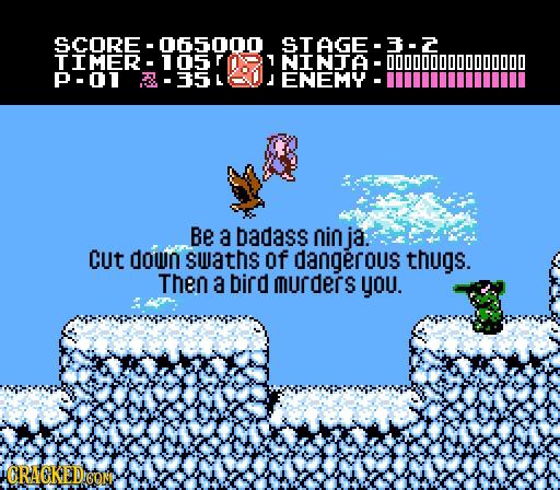 SCORE 0650100 STAGE- 3-2 IMER 1 NINTA -00000000 P-01 L J ENEMY Be a badass nin ja: Cut down swaths of dangerous thugs. Then a bird urders you. CRAGKED
