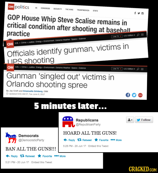 ON politics CONGESS SECURITY YRUMPMERICA GOP House Whip Steve Scalise remains critical in condition after shooting at baseball practice CN victims in