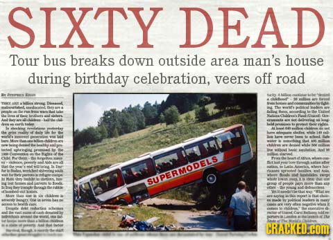 SIXTY DEAD Tour bus breaks down outside area man's house during birthday celebration, veers off road etis tirns Dlasasl a Ssllin Ne E OPERMODETAS L UA