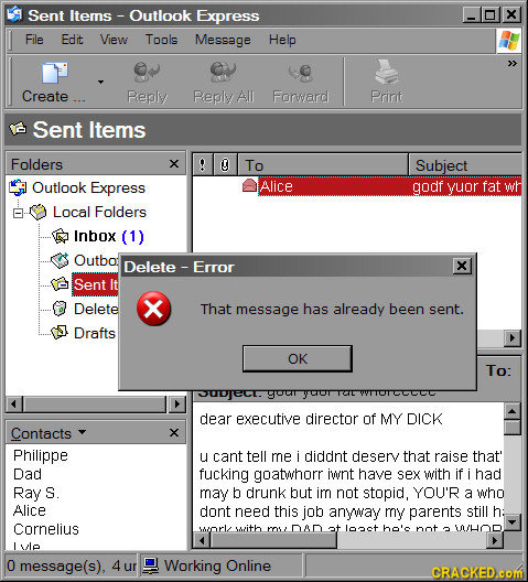 Sent Items- - Outlook Express X File Edit View Tools Message Help >> Create Peply Peply All Forard PRiNt Sent Items Folders O To Subject Outlook Expre