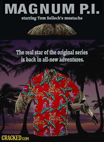 MAGNUM P.I. starring Tom Selleck's mustache The real star of the original series is back in allnew adventures, CRACKED.COM