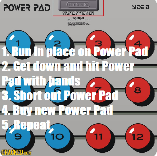 POWER PAD FrTenda SIDE B mOrM DoT IL IIUHHH IHIN VISRUINC 1 1. Run in place on Power Pad 2. Get down and Hit Power Pad with hands 3. Short out Power P