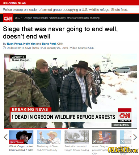 BRFAKING NEWS Police swoop on leader of armed group occupying a U.S. wildlife refuge. Shots fired. CN U.S. Oregon protest leader Ammon Bundy others ar