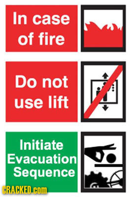 In case of fire Do not use lift Initiate Evacuation Sequence CRACKED. com