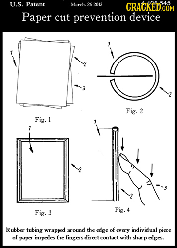U.S. Patent March 545 26 2013 CRACKED'COM Paper cut prevention device Fig. 2 Fig. 1 Fig. Fig. 4 3 Rubbe tubing wrapped around the edge of EVerY indivi
