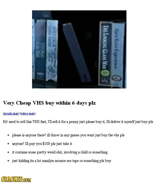 AMERICA TRE Dw LOOKINC 188 Raer S00 CLAO prriny W'UR C Very Cheap VHS buy within 6 days plz (google map) cyeahoo map) Hi! need to sell this VHS fast.