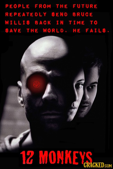 PEOPLE FROM THE FUTURE REPEATEDLY SEND BRUCE WILLIS BACK IN TIME TO SAVE THE WORLD. HE FAILS. 12 MONKEYS