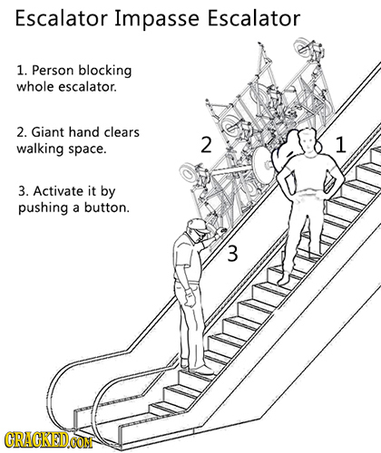 Escalator Impasse Escalator 1. Person blocking whole escalator. 2. Giant hand clears walking 2 1 space. 3. Activate it by pushing a button. 3 CRACKEDC