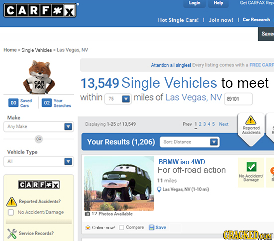 Login Help Get CARFAX Rep CARF*X Hot Single Cars! 1 Join now! I Car Research Save Home Single Vehicles Las Vegas, NV Attention all singles! Every list