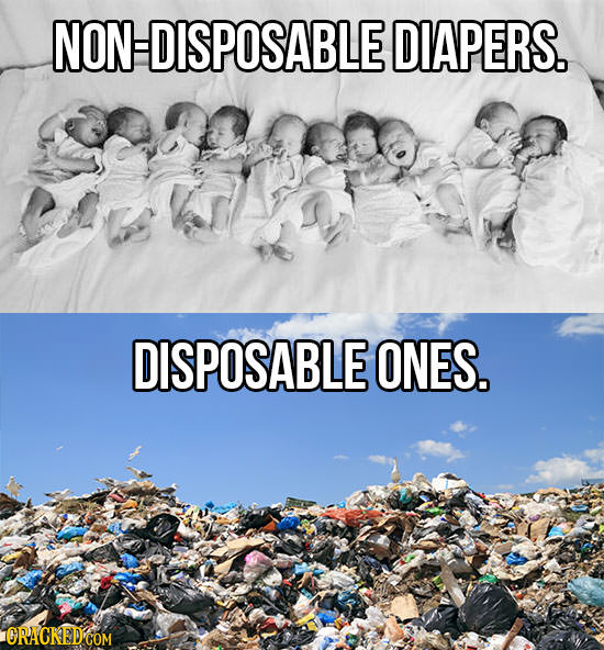 NON DISPOSABLE DIAPERS. DISPOSABLE ONES. ORACKEDCOM