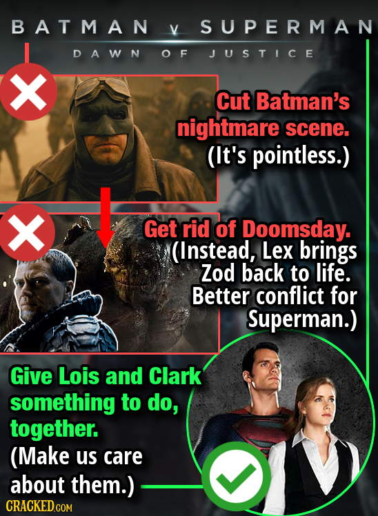 BATMAN V SUPERMAN DAWN OF JUSTICE Cut Batman's nightmare scene. (It's pointless.) X Get rid of Doomsday. (Instead, Lex brings Zod back to life. Better