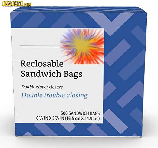 CRACKEDOON Reclosable Sandwich Bags Double zipper closure Double trouble closing 300 SANDWICH BAGS 61/2 INX57/ IN (16.5 cm X 14.9 cm)