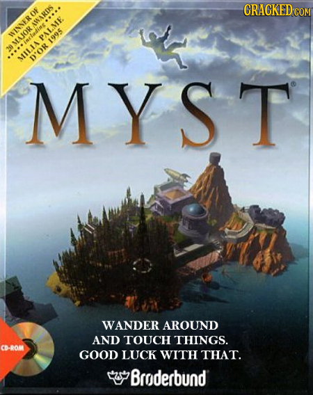 CRACKED cO AINARDS WINNEROF PALME PALME. MAJOR estadine 1995 MILIA D'OR MYST WANDER AROUND AND TOUCH THINGS. CD-ROM GOOD LUCK WITH THAT. Broderbund