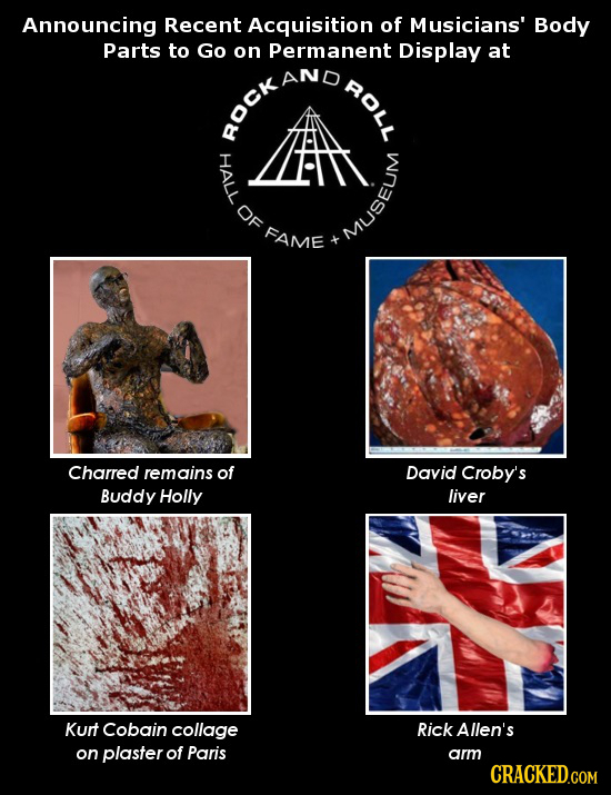 Announcing Recent Acquisition of Musicians' Body Parts to Go on Permanent Display at ROLL RockAnD OF FAME Museum Charred remains of David Croby's Budd