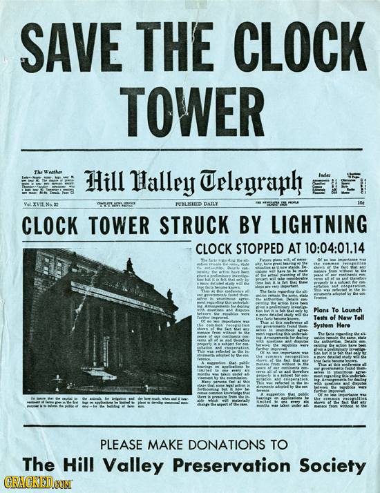 SAVE THE CLOCK TOWER The eethee Hill llalley Urlegraph Inde VoL XVIL Na 32 PUBLISHED DAILY yor CLOCK TOWER STRUCK BY LIGHTNING CLOCK STOPPED AT 10:04: