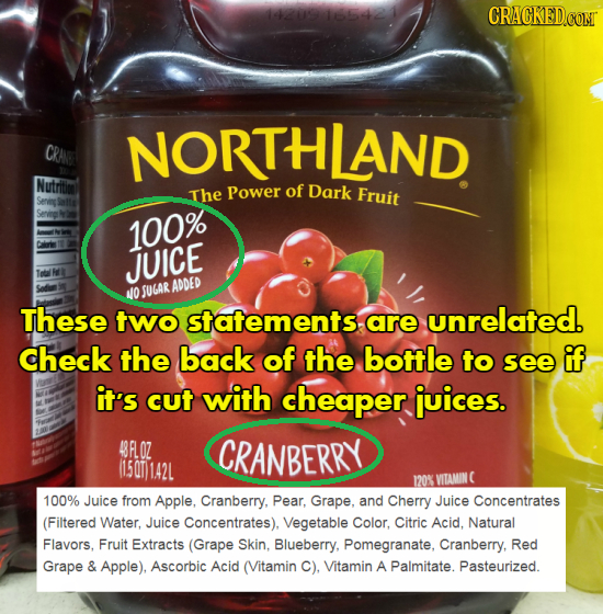 1l4 CRA NORTHLAND Nutritm The Power of Dark Fruit 100% 1a JUICE SUGAR ADDED NO These two statementsare unrelated. check the back of the bottle to see