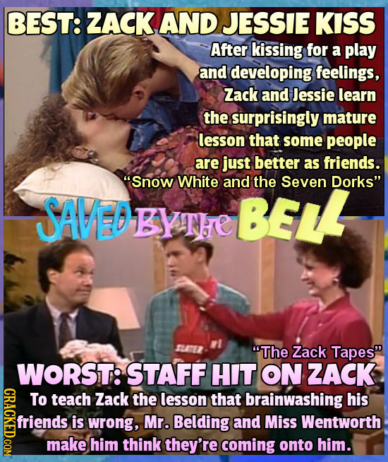 BEST: ZACK AND JESSIE KISS After kissing for a play and developing feelings, Zack and Jessie learn the surprisingly mature lesson that some people are