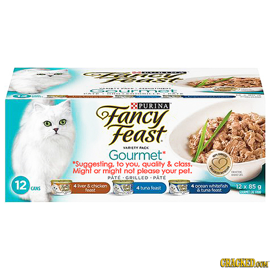 Fancy PURINA Feast VAOLETY PACK Gourmet *Suggesting, to You, quality & class. ws Might or might not please your pet. PATE omesut GRILLED PATE 12 4 lir
