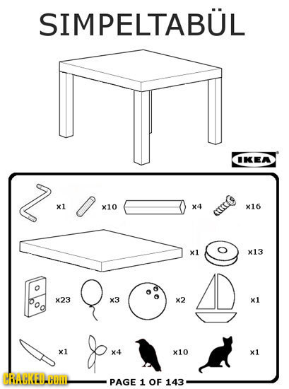 SIMPELTABUL IKEA x1 x10 X4 X16 GECO x1 x13 o X23 x3 x2 x1 x1 X4 x10 x1 CRAGKEDAGOI PAGE 1 OF 143