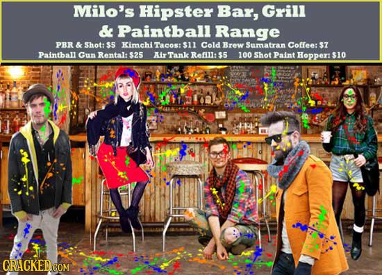 Milo's Hipster Bar, Grill & Paintballl Range PBR & Shot: s Kimchi Tacos: $11 Cold Brew Sumatran Coflee: $7 Paintball Gun Rental: $25 AIx Tank Refill: