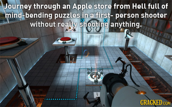 Journey through an Apple store from Hell full of mind-bending puzzles in a first- person shooter without really shooting anything. CRACKED COM