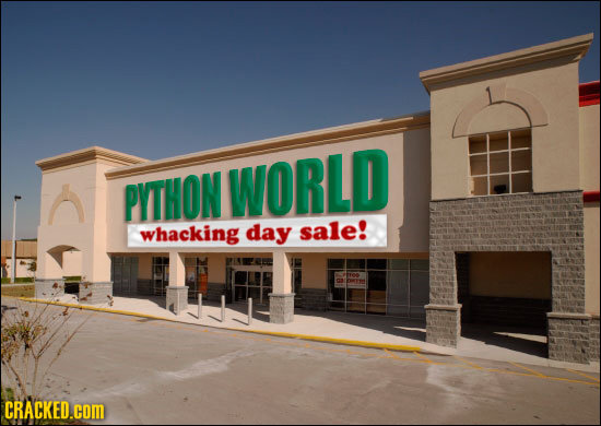 PITHON WORLD whacking day sale! CRACKED.cOM