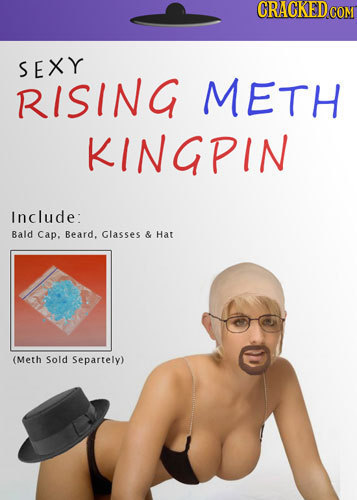 CRACKED COM SEXY RISING METH KINGPIN Include: Bald cap, Beard. Glasses & Hat (Meth Sold Separtely)