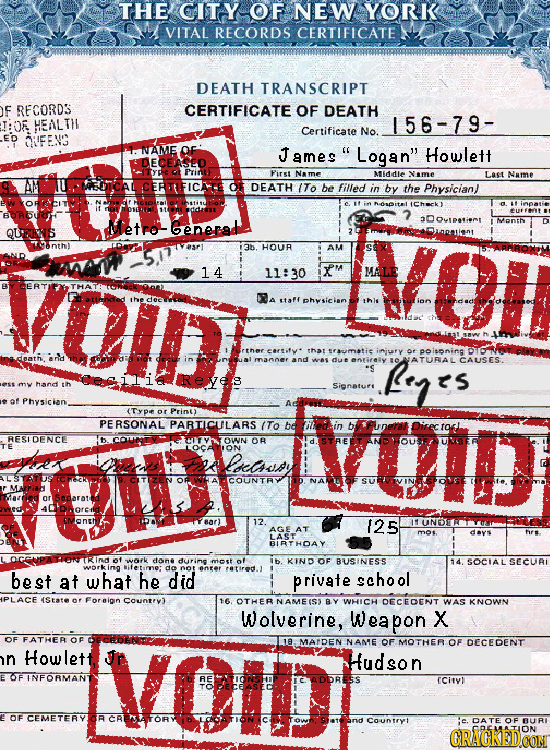 THE CITY OF NEW YORK VITAL RECORDS CERTIFICATE DEATH TRANSCRIPT F RECORD3 CERTIFICATE OF DEATH T:OF HEALTH 156-79- Certificate No. ED OFENS NAME James