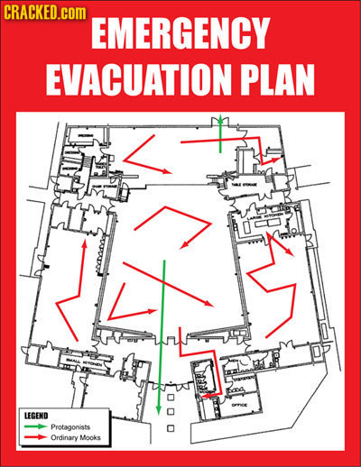 CRACKED.COM EMERGENCY EVACUATION PLAN LEGEND Protagonists Ordinary Mooks