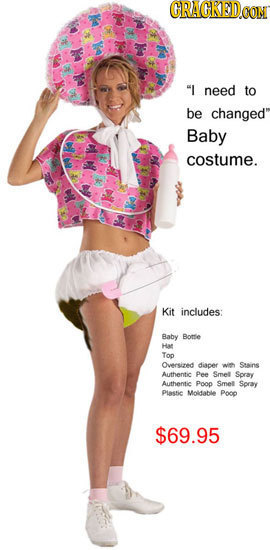 CRACKEDOON I need to be changed Baby costume. Kit includes: Baby Bottie Ha Top Onesired diacer Stains Authentie Pee Smel Spray Authentie Pooo Smel S