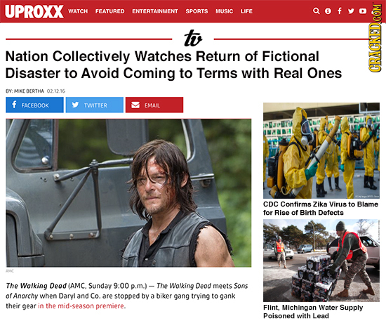 UPROXX WATCH FEATURED ENTERTAINMENT SPORTS MUSIC LIFE to Nation Collectively Watches Return of Fictional Disaster to Avoid Coming to Terms with Real O