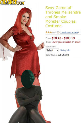 CRACRED CON Sexy Game of Thrones Melisandre and Smoke Monster Couples Costume AOAOA 0 (1 customer. reyiew) Price $30.42-$103.59 Sale: Lower pnice aval