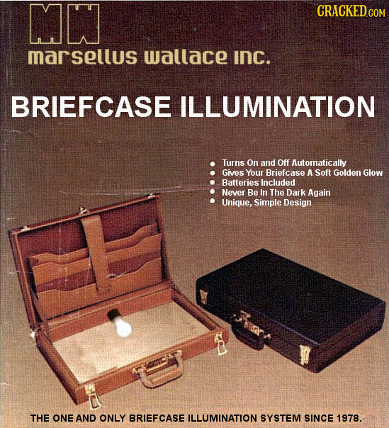 MN CRACKEDCO marsellus wallace INC. BRIEFCASE ILLUMINATION Turns On and Off Automatically Gives Your Briefcase A Soft Golden Glow Batteries Included N