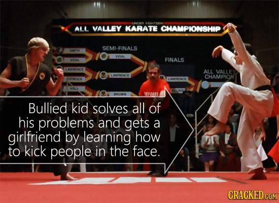 LINCR ALL VALLEY KARATE CHAMPIONSHIP SEMI-FINALS WOAL FINALS VOLAL LANRE NCE ALL VALLEY LAWOENC CHAMPIOK NNOZA AWENCE HAL BRONN EFEREE Bullied kid sol