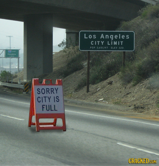 Los Angeles CITY LIMIT POP 3.651197 ELEV 320 tae SORRY CITY IS FULL