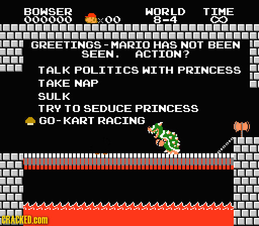 BOWSER WORLD TIME 000000 00 8-4 C GREETINGS - MARIO HAS NOT BEEN SEEN. ACTION? TALK POLITICS WIt PRINCESS TAKE NAP SULK TRY TO SEDUCE PRINCESS GO-KART