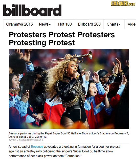 billboard CRACKEDOON Grammys 2016 News, Hot 100 Billboard 200 Charts, Vide Protesters Protest Protesters Protesting Protest Beyonce performs during th
