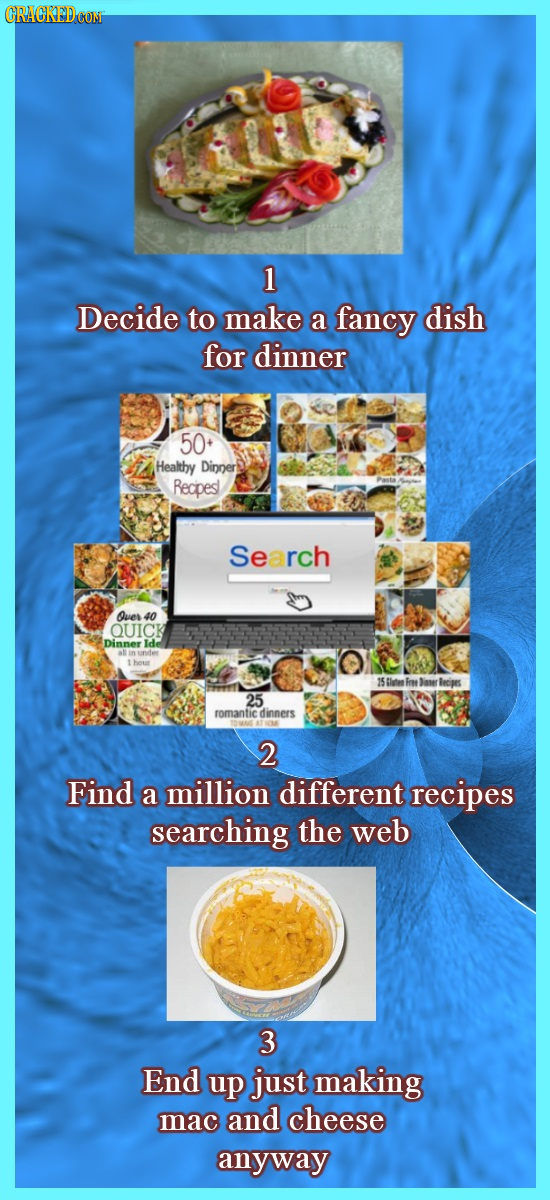 CRACKEDCON 1 Decide to make a fancy dish for dinner 50 Healthy Dinner Recipes Search Oves 40 OUICK Dinner 25 romantic dinners 2 Find a million differe