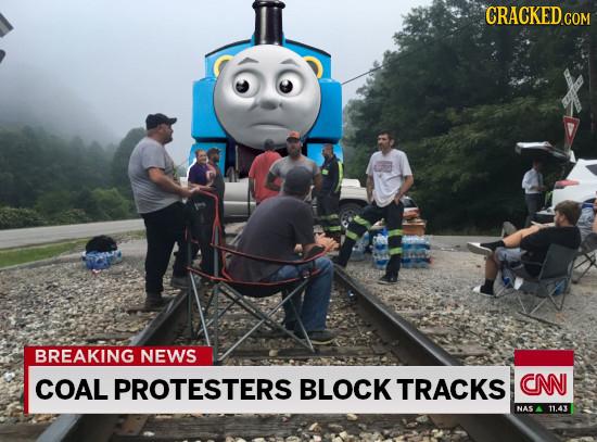 CRACKED BREAKING NEWS COAL PROTESTERS BLOCK TRACKS CN NAS 11.43