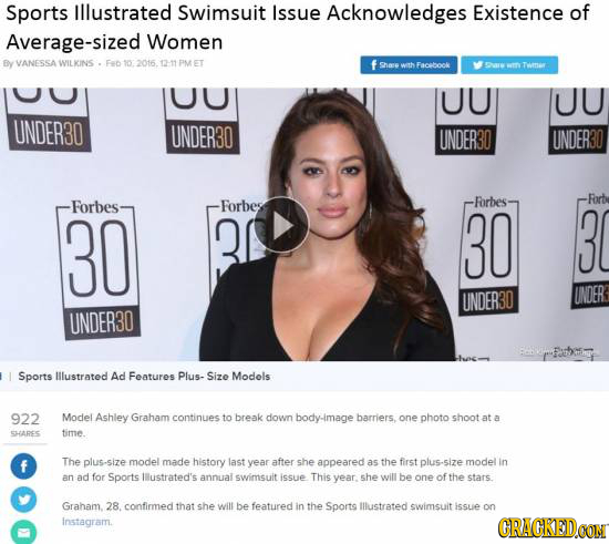 Sports Illustrated Swimsuit Issue Acknowledges Existence of Average-sized Women By VANESSA WILKINS . Fe 10 2016. 211PMET f shase wth Facbook arw Tene