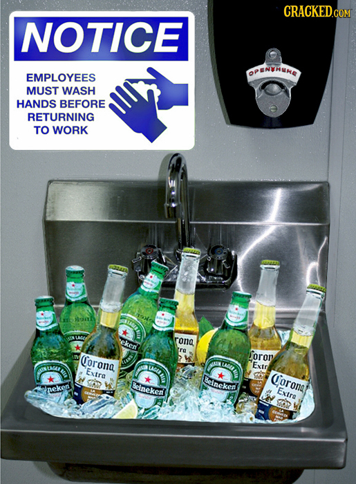 CRACKED.COM NOTICE OPENTHNE EMPLOYEES MUST WASH HANDS BEFORE RETURNING TO WORK IMGIIL MGAE ekent rona re Corona foron USLIEL UMOUL Exir UMA LAGA BEE E