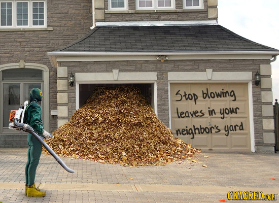 Stop blowing leaves in your neighbor's yard