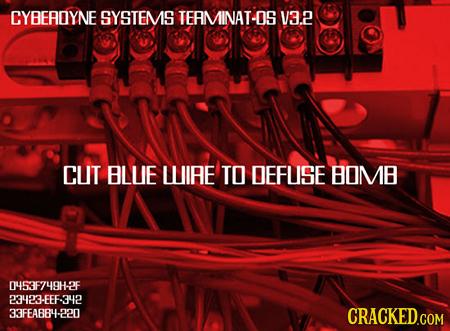 CYBEADYNE SYSTEMS TERMINAT-OS V3.2 CUT BLUE LLUIRE TO DEFUISE BOMB 0453F749H-2F 23423-6EF-342 33FEA884-220