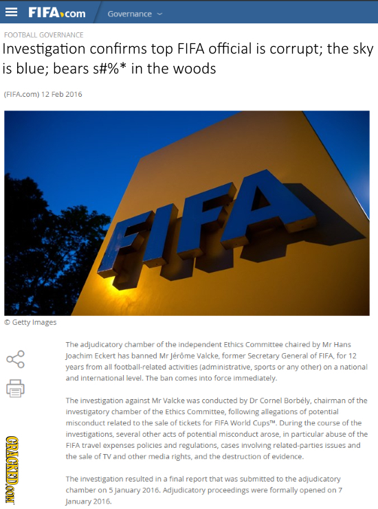 FIFAcor Governance FOOTBALL GOVERNANCE Investigation confirms top FIFA official is corrupt; the sky is blue; bears s#%* in the woods (FIFA.com) 12 Feb