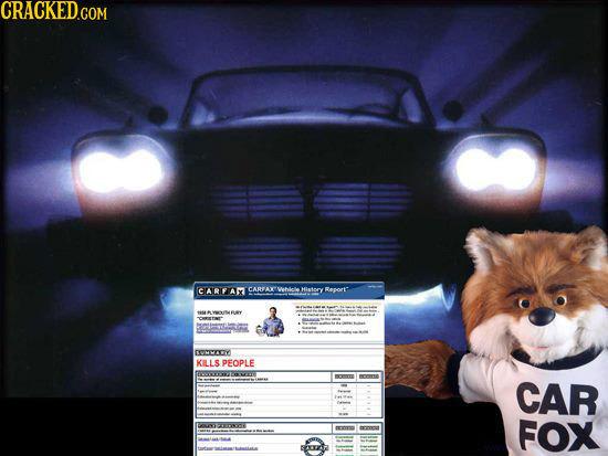 CRACKED.COM CARFAX CARTA Whicle Hiatory Report IVMMAY KILLS PFOPLE TITT CAR FOX