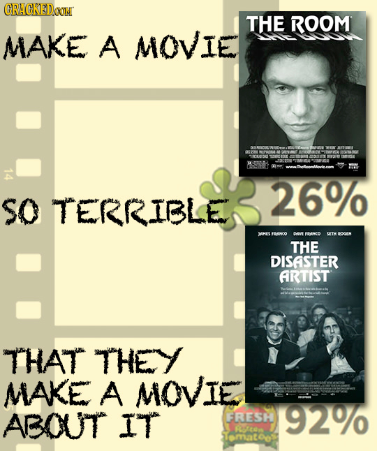 CRACKEDOOM THE ROOM MAKE A MOVIE 09 14 wwatheloonlovlecom 26% sO TERRIBLE SAHES FRANCO pevt FBANCO SETH BOOAIM THE DISASTER ARTIST THAT THEY MAKE A MO